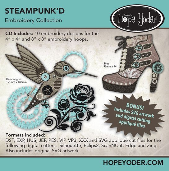 Steampunk'D Embroidery CD with SVG Files