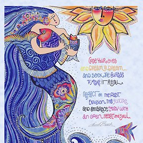 Sea Goddess Blue Panel by Laurel Burch