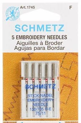 Schmetz Embroidery Machine Needle Size 11/75  5 pack