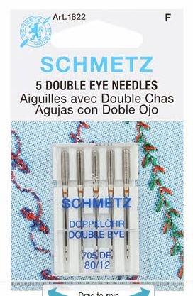 Schmetz Double Eye Topstitch Machine Needle Size 12/80 5 pack