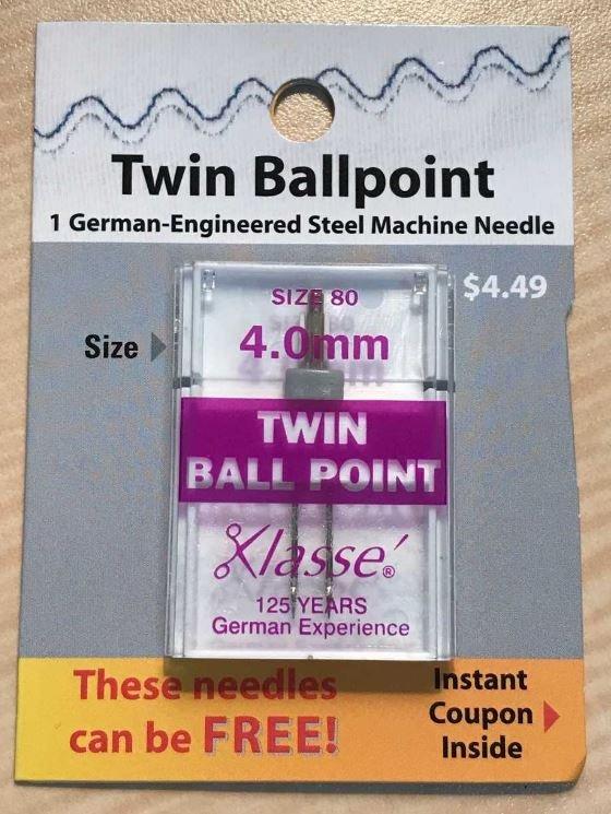 Klasse Needle Twin Ball Point 4.0mm/size 80 1 pack