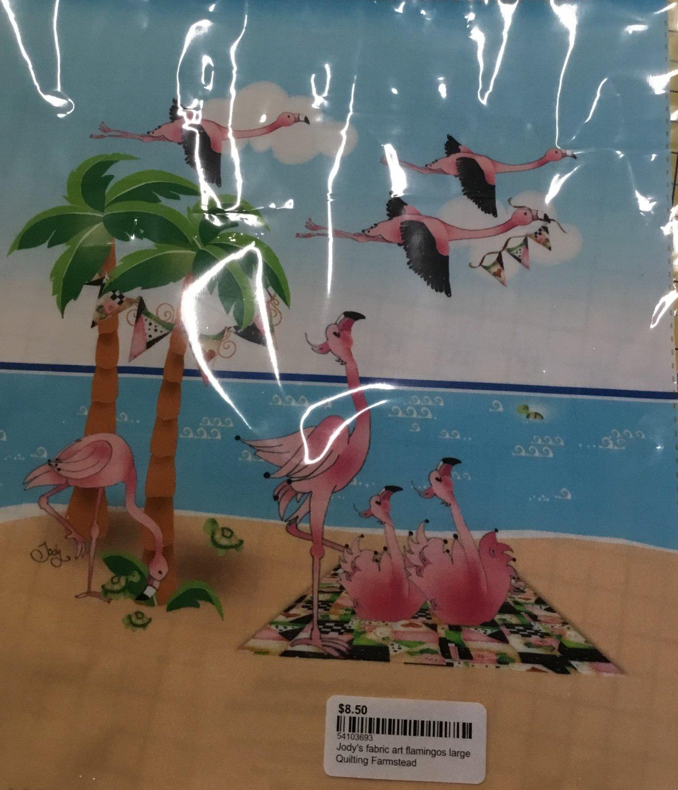 Jody's fabric art flamingos large
