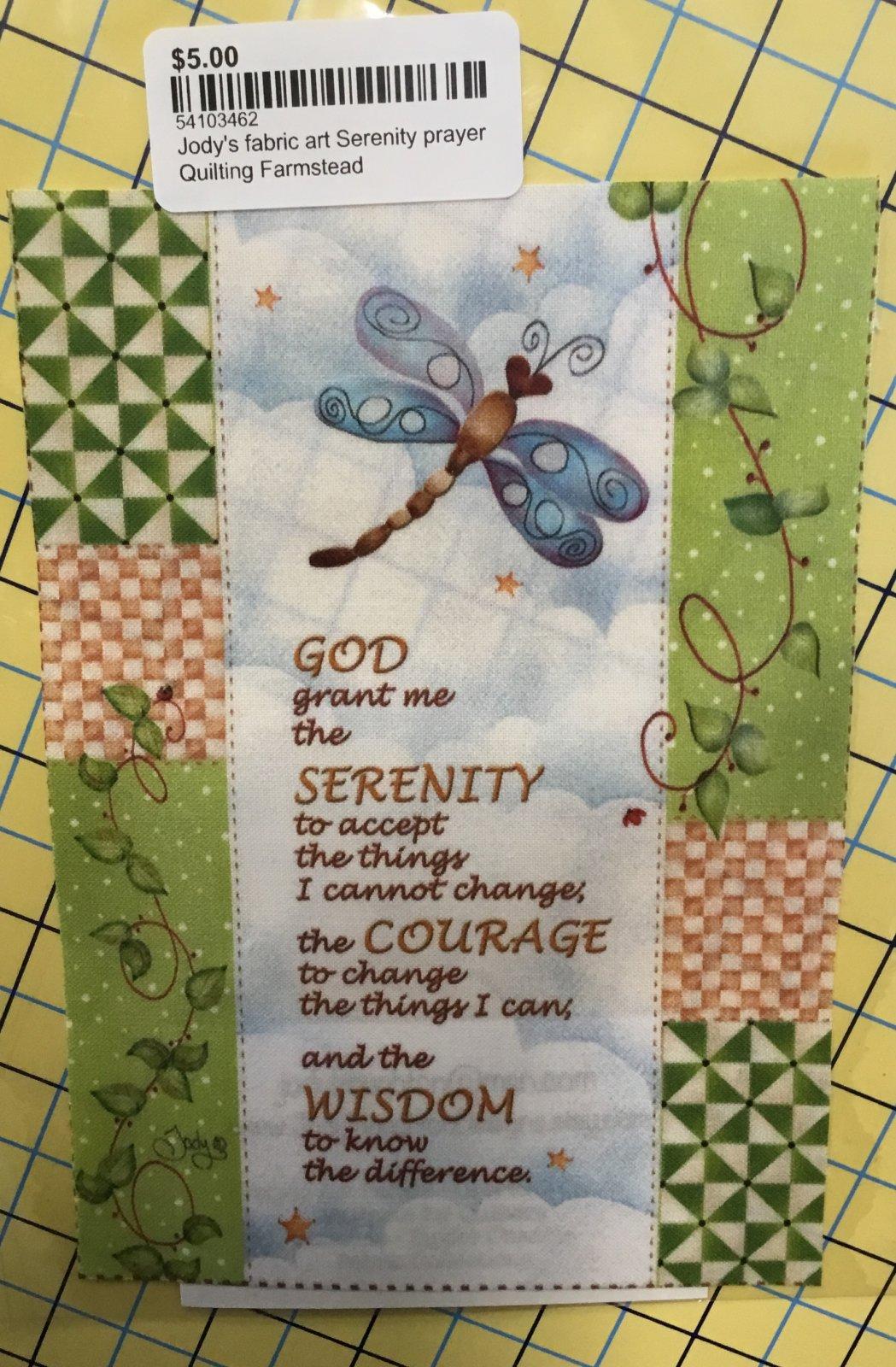 Jody's fabric art Serenity prayer