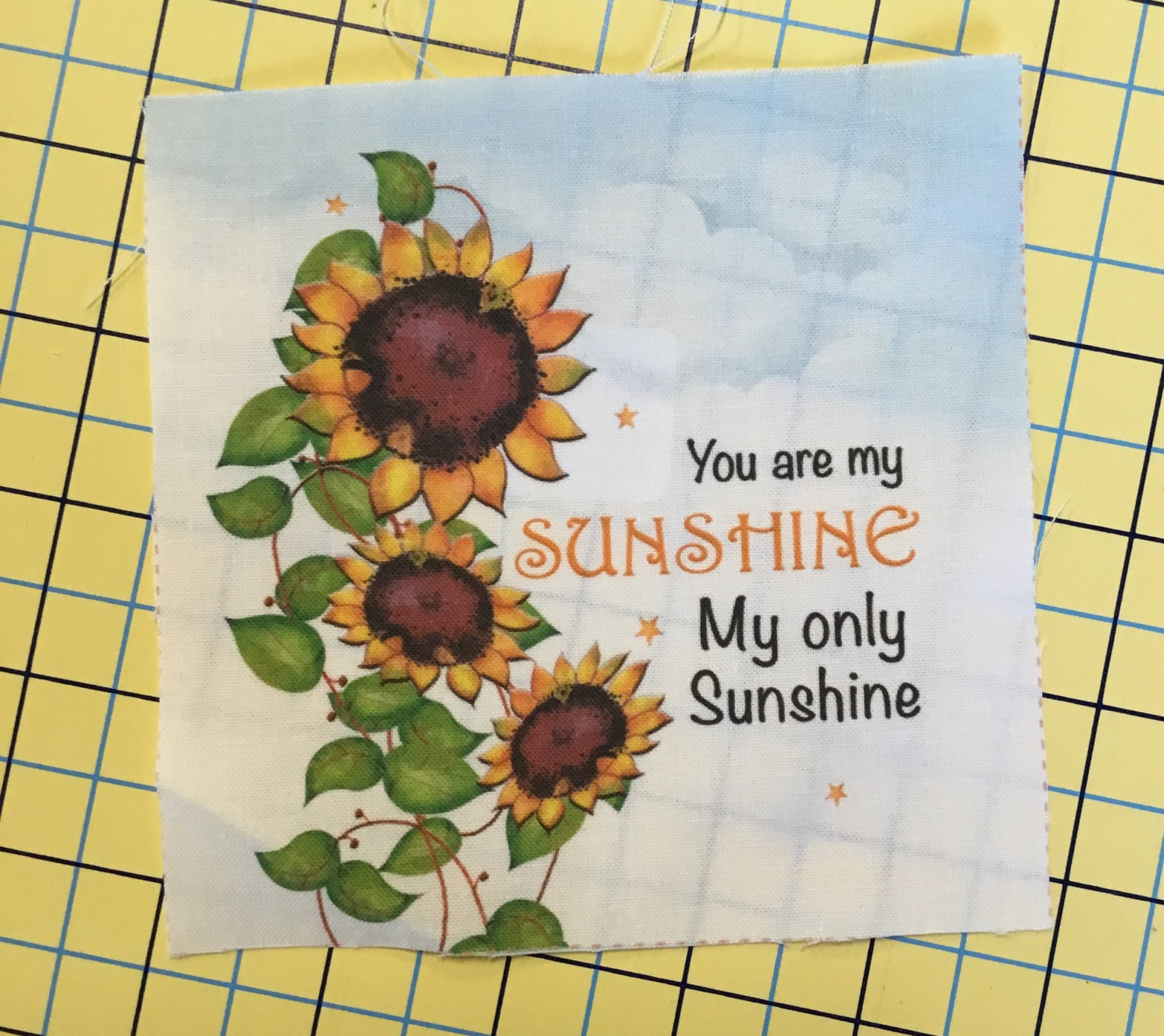 Jody's fabric art 5 X 5 Sunshine