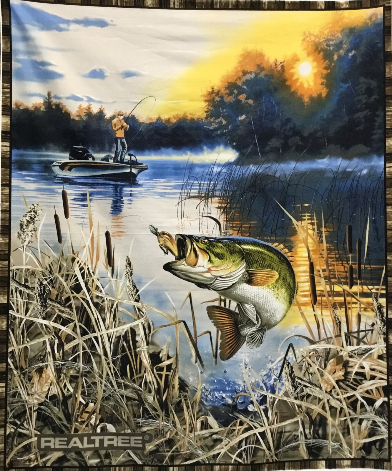 Real tree large mouth bass panel