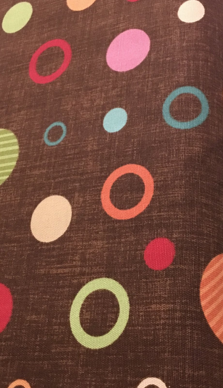 100% cotton home deco brown with colored circles
