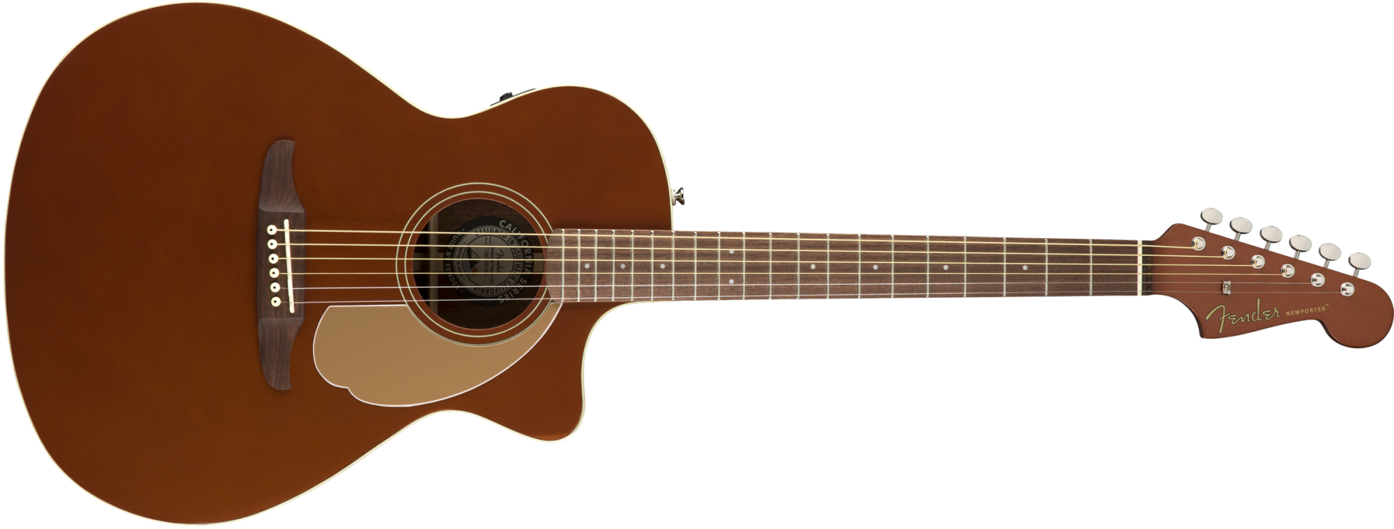 Fender Newporter Player Acoustic-Electric Guitar, Walnut Fingerboard, Rustic Copper