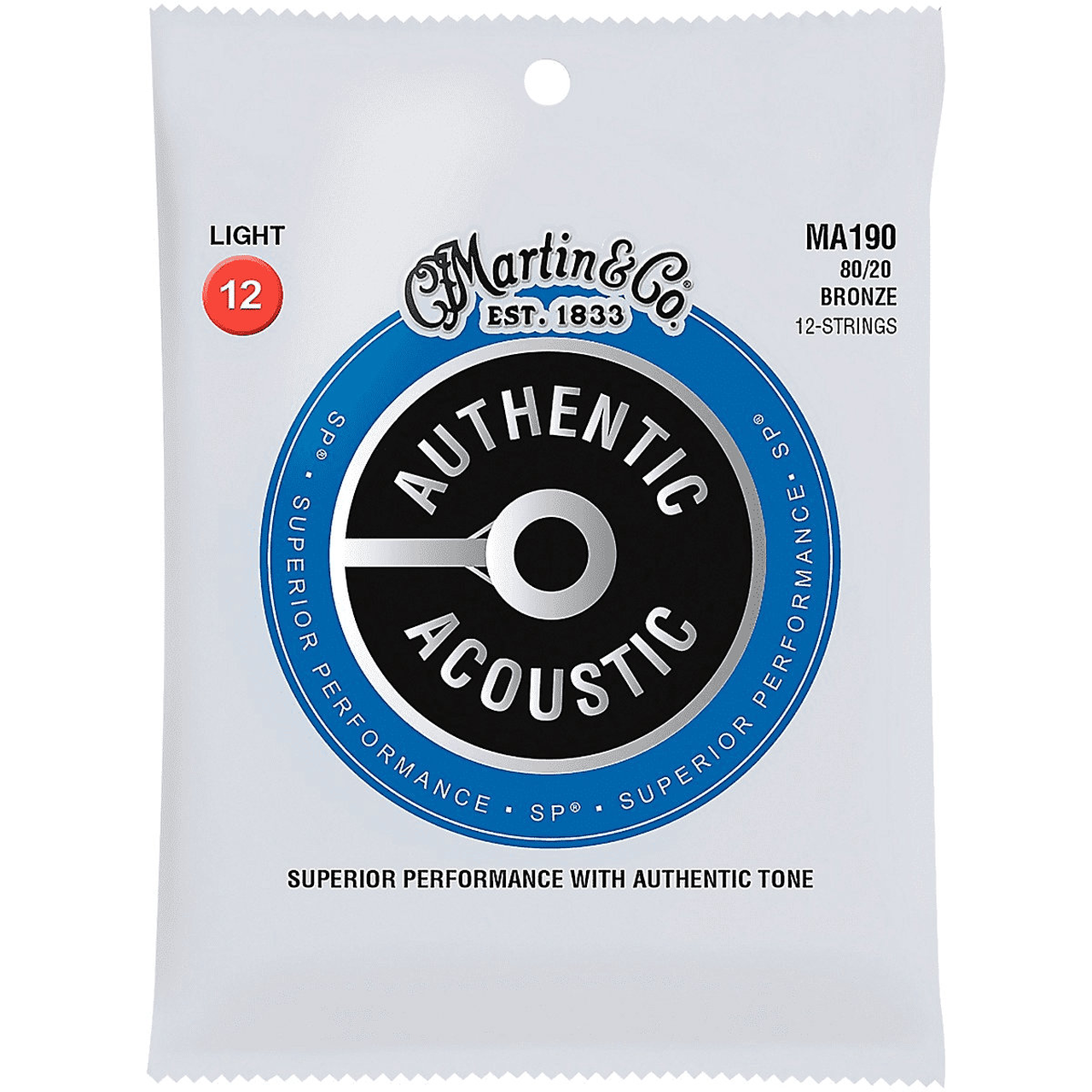 Martin MA190 SP 12-String 80/20 Bronze Light Authentic Acoustic Guitar Strings