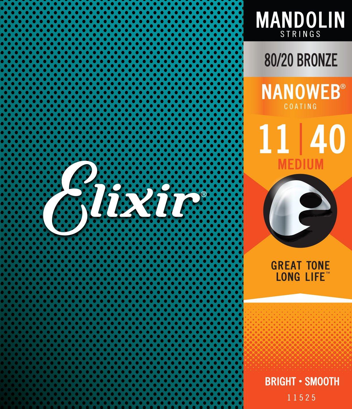 Elixir 11525 Nanoweb 80/20 Bronze Mandolin Strings, Medium, 11-40