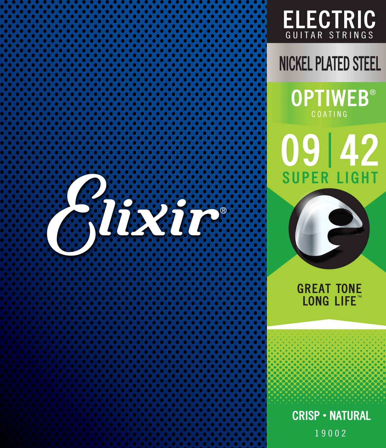 Elixir 19002 Optiweb Electric Guitar Strings, Super Light, 09-42