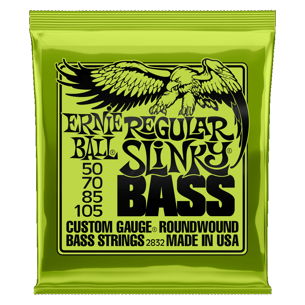 Ernie Ball 2832 Nickel Wound Electric Bass Strings, Regular Slinky (50 - 105)