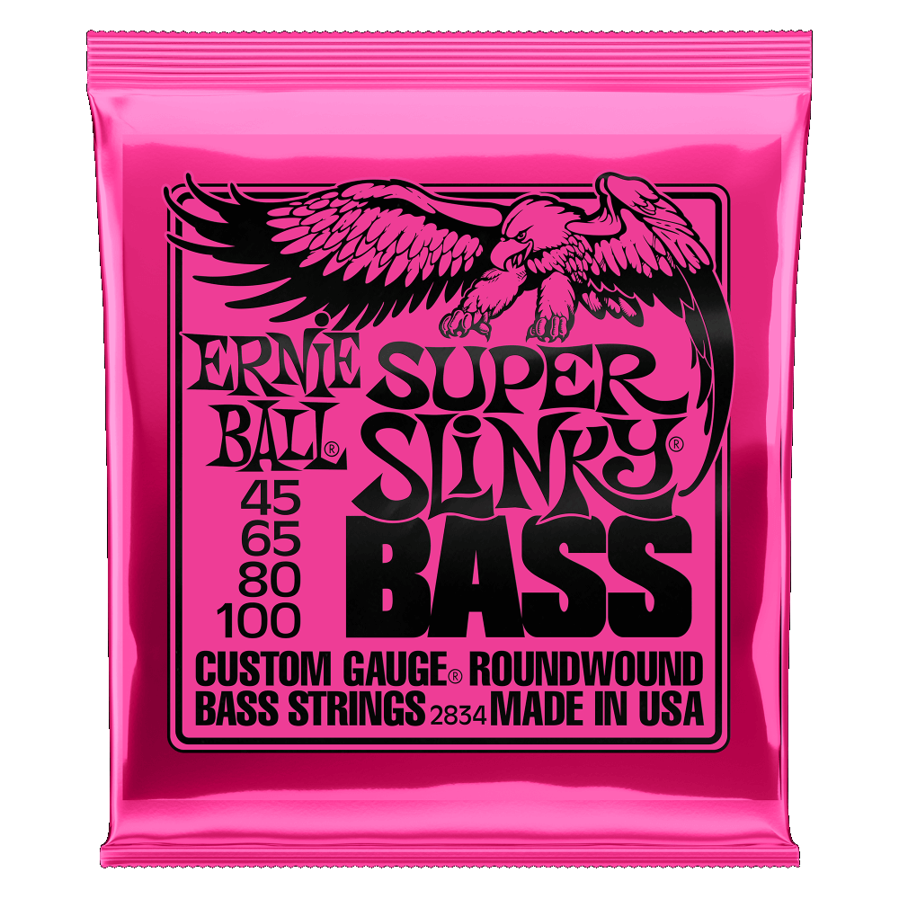 Ernie Ball 2834 Nickel Wound Electric Bass Strings, Super Slinky (45 - 100)