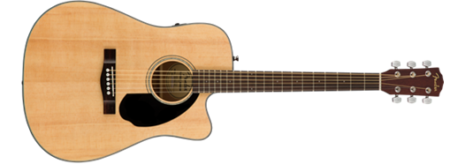 Fender CD-60SCE, Cutaway Acoustic-Electric Guitar, Natural