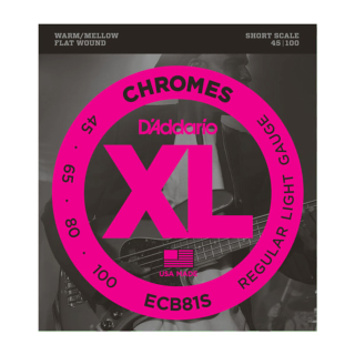 D'Addario ECB81S Chromes Flatwound Bass Strings, Light, 45-100, Short Scale