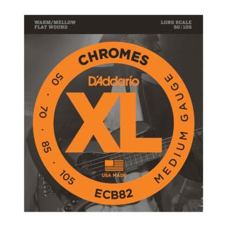 D'Addario ECB82 Chromes Flatwound Bass Guitar Strings, Medium, 50-105, Long Scale