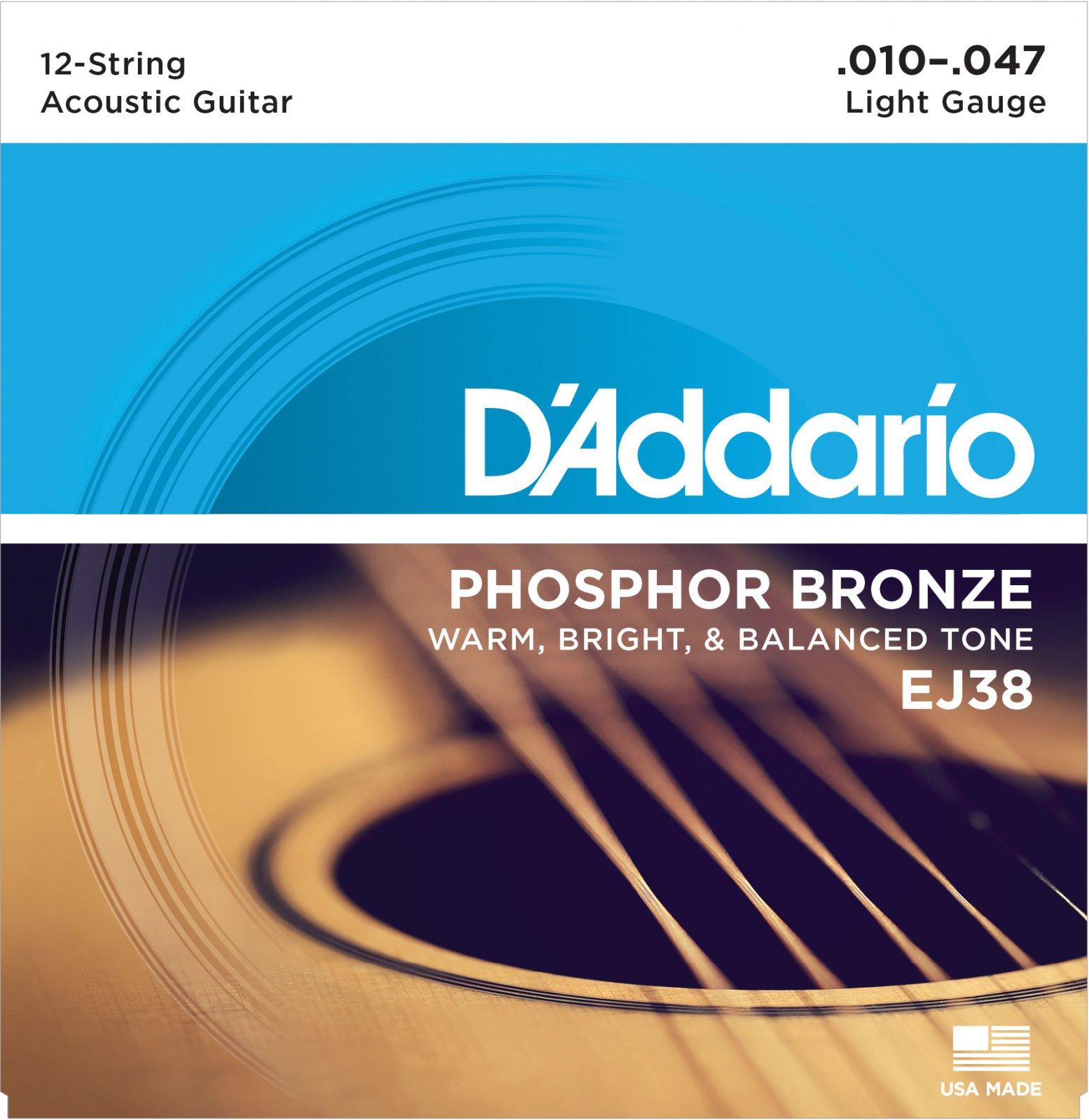 D'addario EJ38 Phosphor Bronze 12-String Acoustic Guitar Strings, Light, 10-47