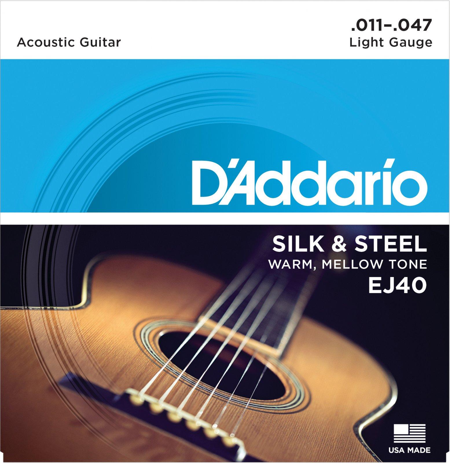 D'addario EJ40 Silk and Steel Folk Guitar Strings, 11-47
