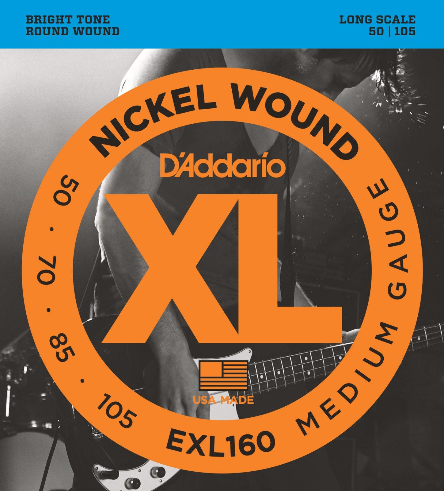 D'Addario EXL160 Nickel Wound Bass Guitar Strings, Medium, 50-105, Long Scale