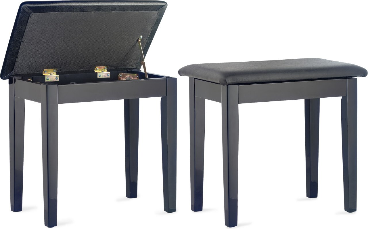 Stagg highgloss black piano bench with black vinyl top and storage compartment PBF23