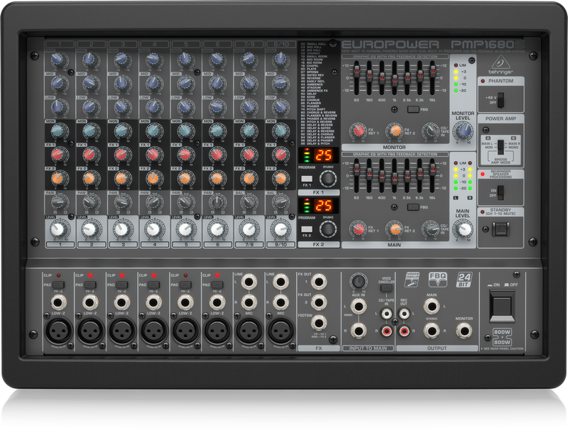 Behringer PMP1680S 10-Channel Powered Mixer with Dual Multi-FX Processor and FBQ Feedback Detection System