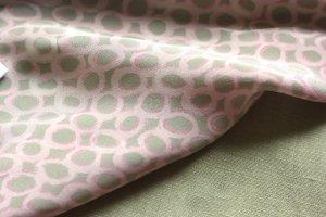 Silk print pink sage green linen