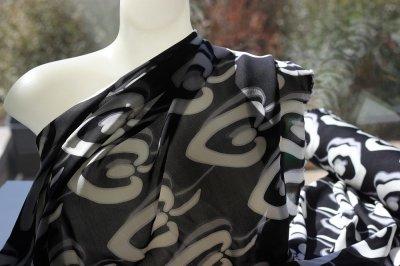 black and white leaf print silk fabric