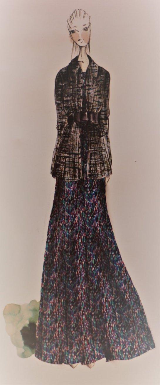 brushstroke silk charmeuse fashion sketch