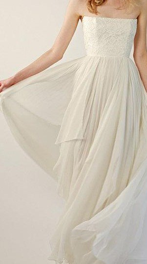cream chiffon wedding dress