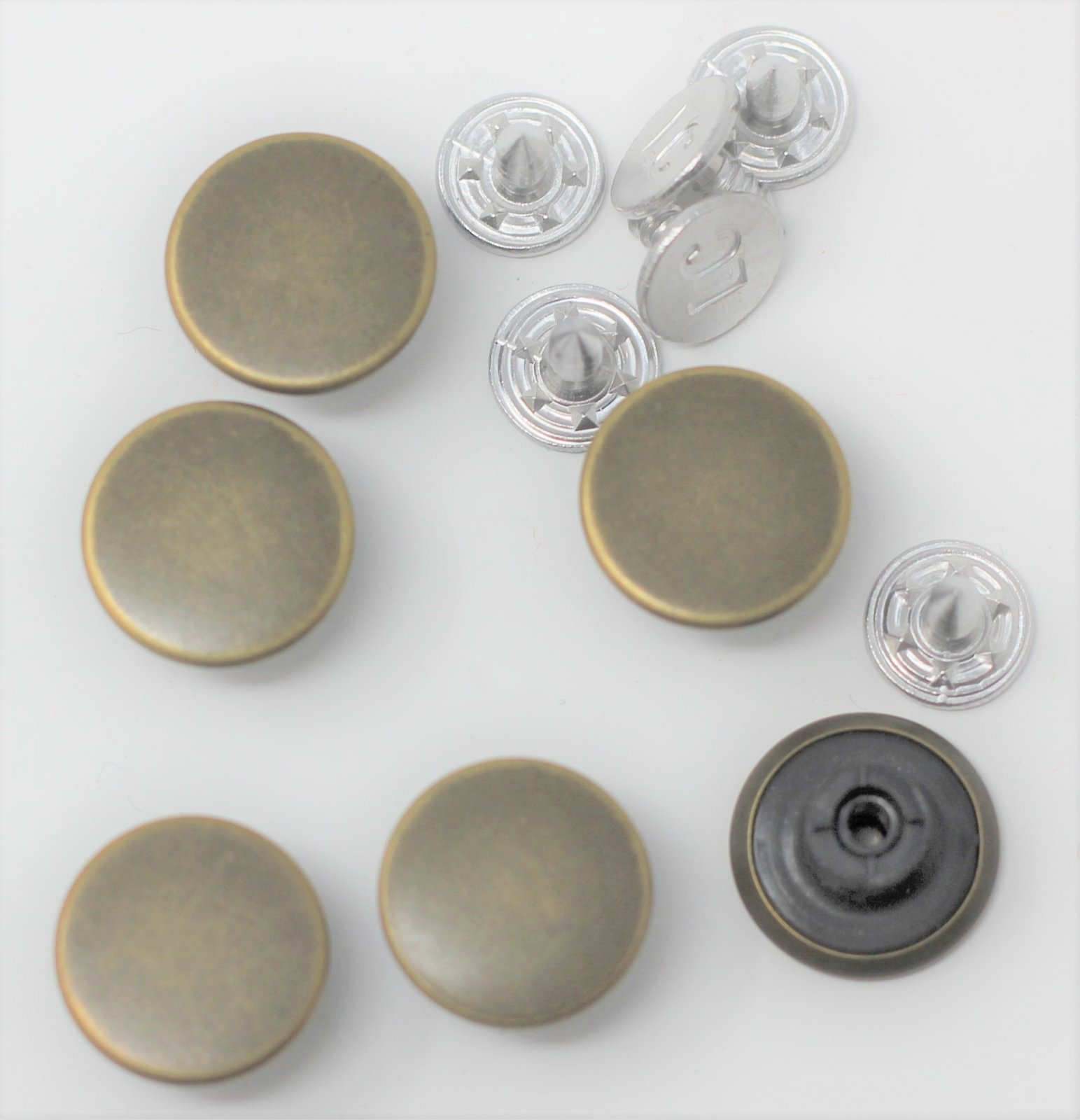 Dungaree buttons for jeans, set of six in antique brasstone