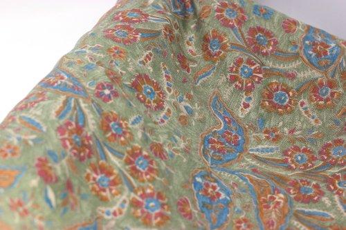 Vintage Moygashel linen/rayon print, green/multi