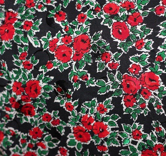 Printed pure silk Switzerland, black/red/green/white