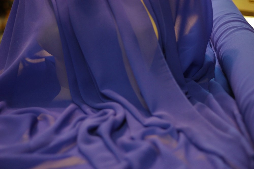 Pure silk chiffon, royal blue