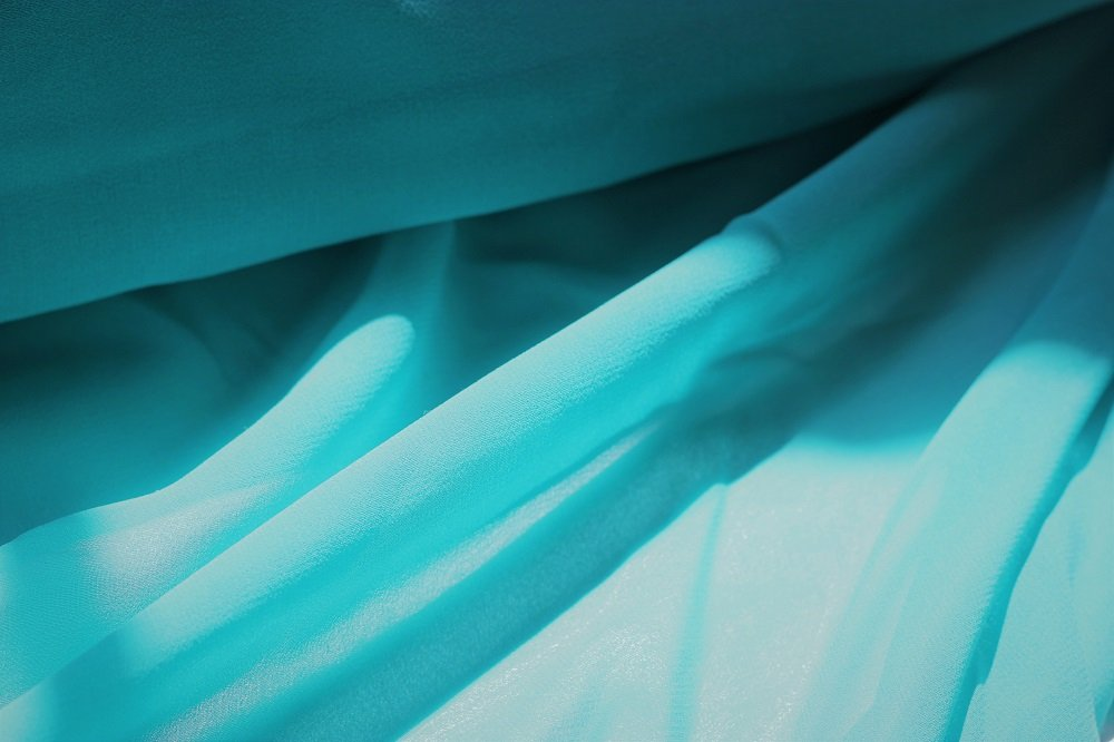 Pure silk chiffon, bright gem turquoise