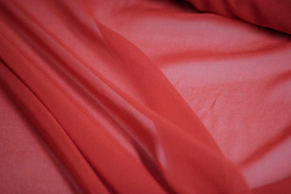 Pure silk chiffon, cherry red