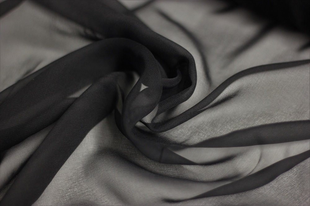 Pure silk chiffon, black