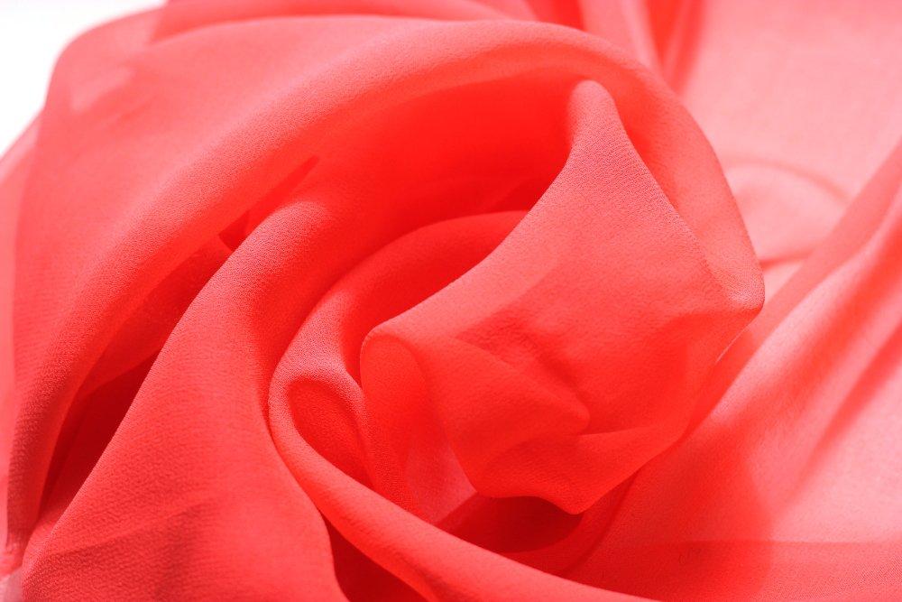 Pure silk chiffon, hot coral