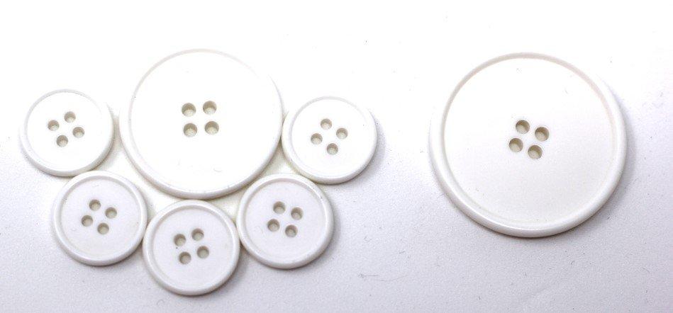 Italian casein buttons, white