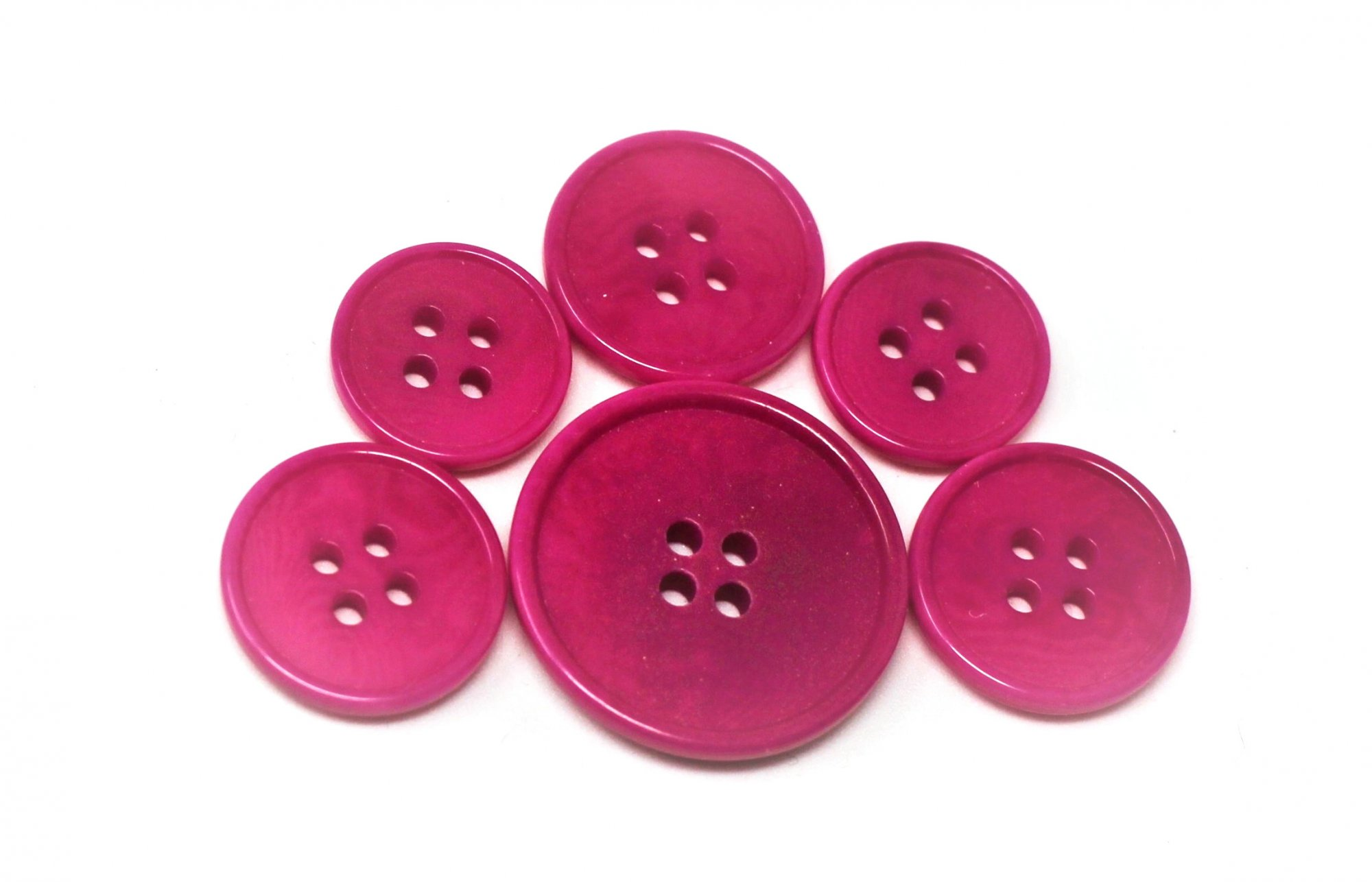 Italian tagua buttons, hot pink