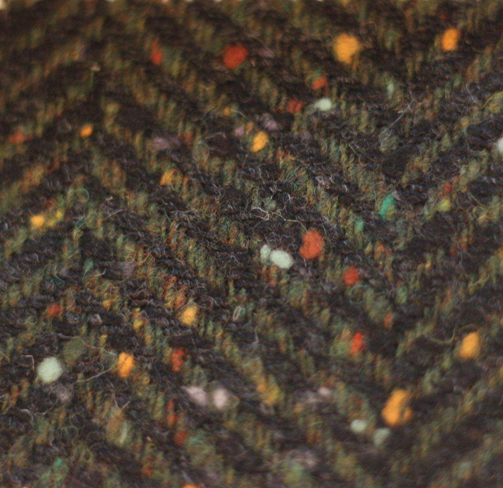 Heavy wool herringbone tweed in olive/black and multicolor