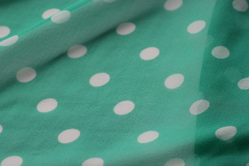 Positive/negative green and white silk chiffon dots