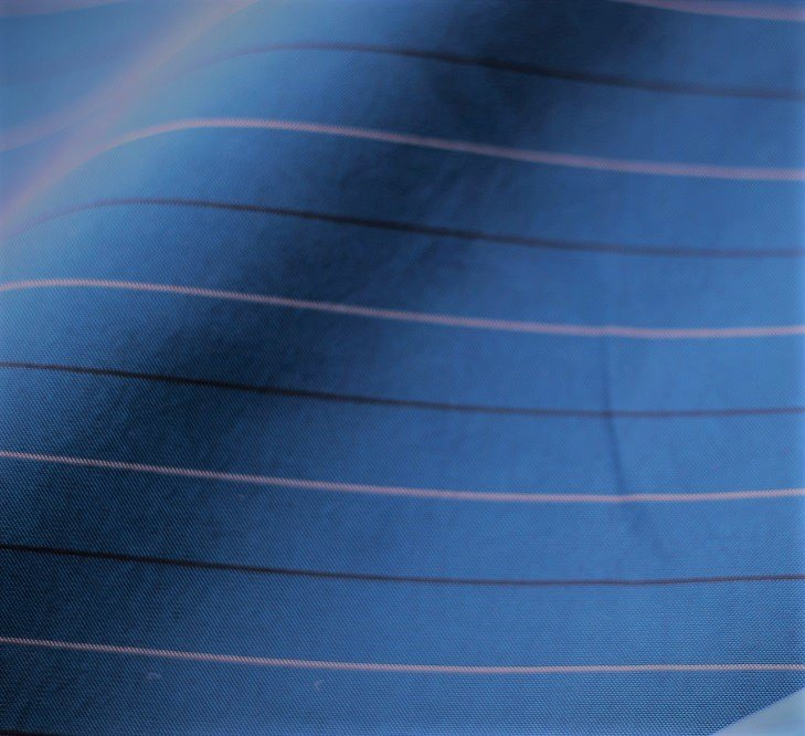 Iridescent stripe silk broadcloth, blue/white/black