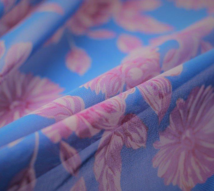 Summer blue pure silk chiffon floral
