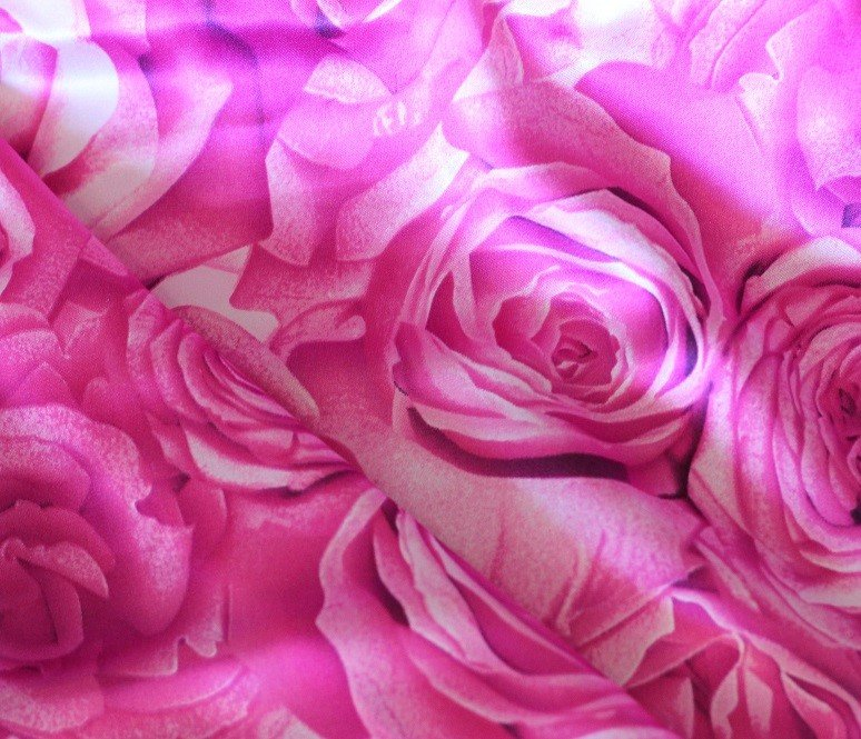 Blast of roses pure silk charmeuse in pinks