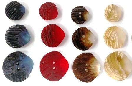 Rustic faux horn buttons imported from France--brown, beige, red, navy