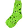 Socks Black Notes On Neon Green - Ladies 9-11