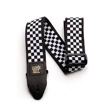 Ernie Ball Black & White Checkered Jacquard Guitar Strap