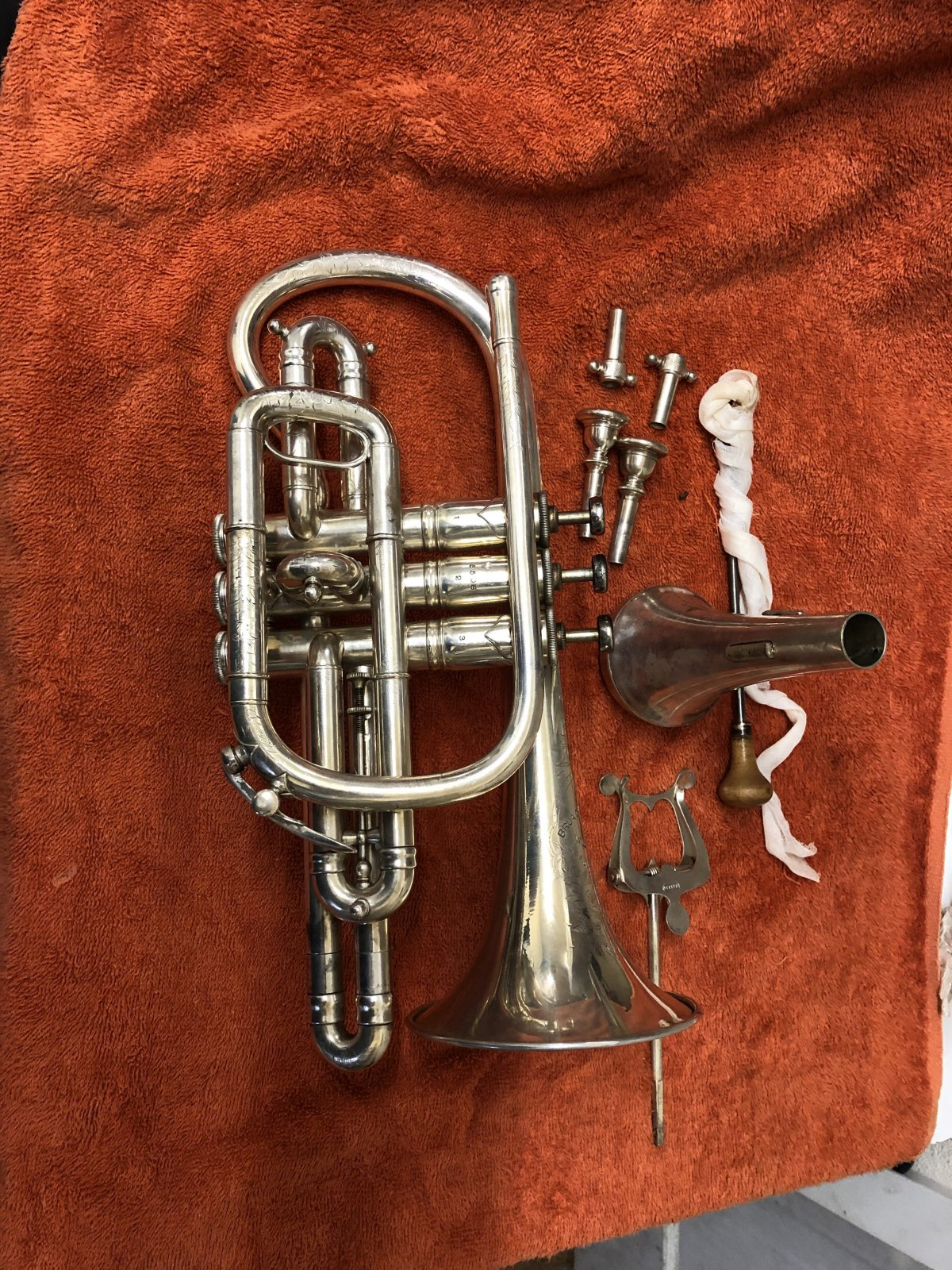 Keefer Cornet, c1916, excellent condition, with original case and accessories.
