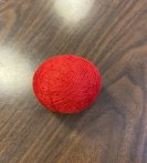 temari ball after wrapping with thread