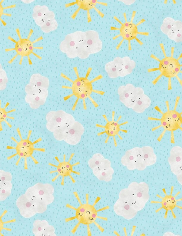 Raindrops and Sunshine  Sun and Cloud Faces on blue