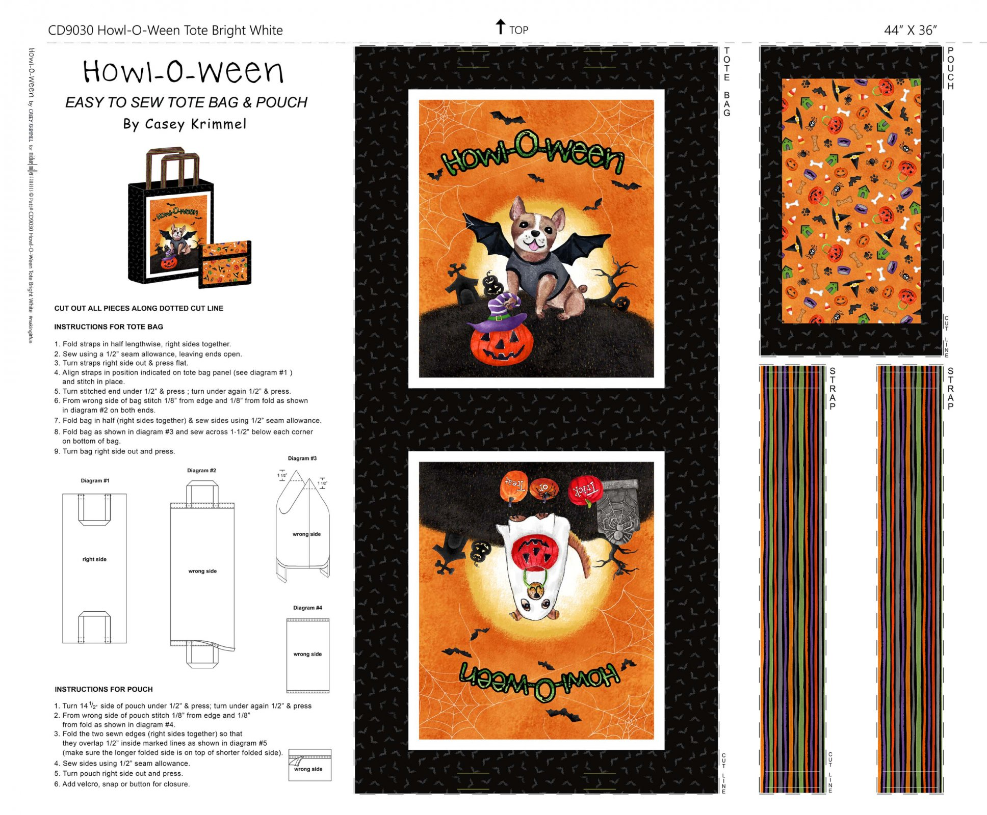 Howl-o-ween Tote On Cotton Duck